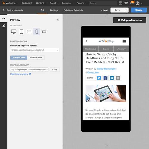 HubSpotブログソフトウェア - 自動でモバイル配信を準備
