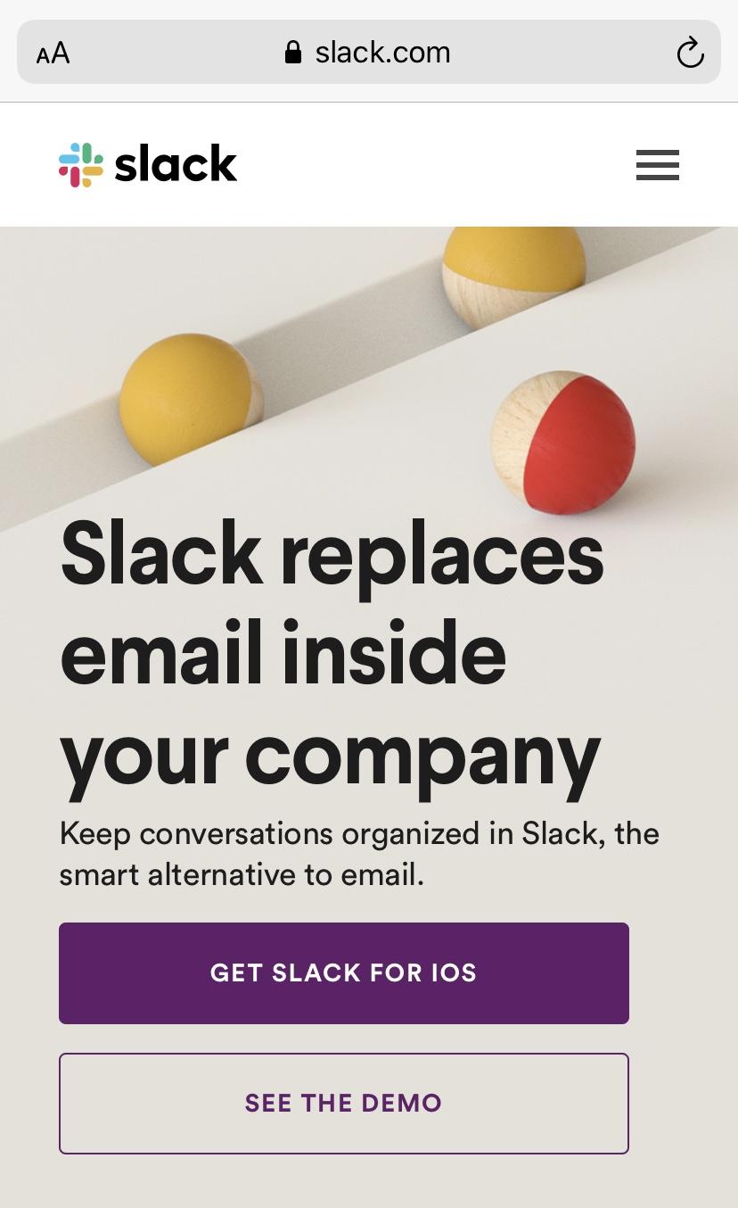 Slackモバイル向けウェブサイト