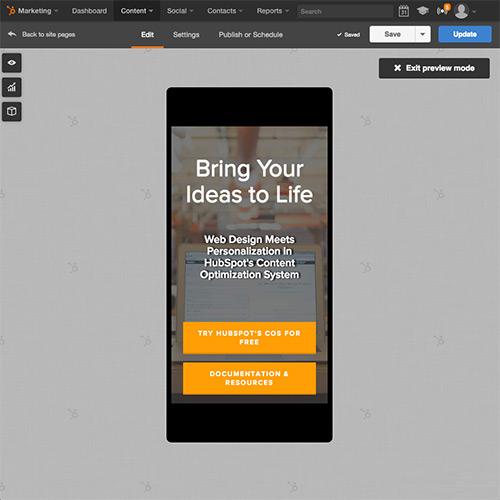 HubSpotウェブサイトプラットフォーム - モバイル用ウェブサイトの自動最適化