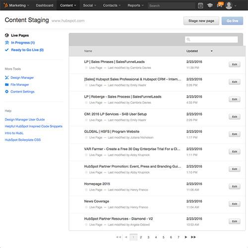 HubSpotウェブサイトプラットフォーム - コンテンツステージング環境を含む
